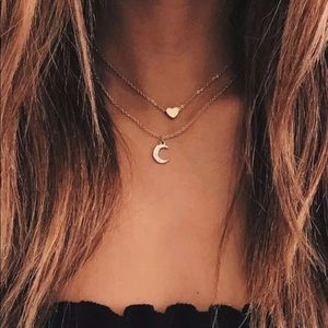 Heart and moon layered necklace